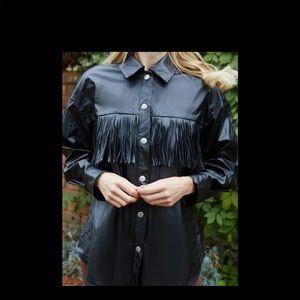 Faux Leather Fringe Shirt